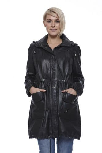 Women Leather Coat With Hood in Black